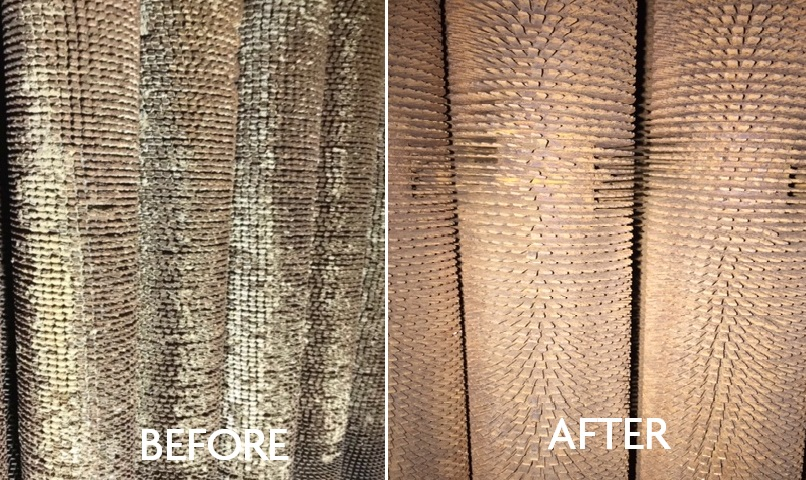 Before and after picture of HRSG Tubes showing how much fouling was removed by using dry ice blasting services